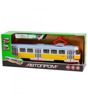 Игрушка трамвай Автопарк, Tatra, со звуком, с открывающимися дверями