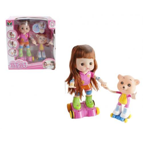 """Интерактивная кукла на роликах """"BIBI"""" с мишкой 33306"""