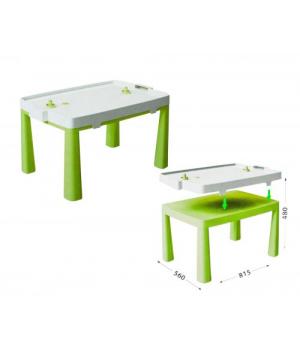 Детский пластиковый стол и настольная игра аэрохоккей (салатовый) 04580/2
