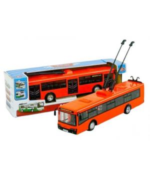 Троллейбус игрушечный Автопром, оранжевый 9690А