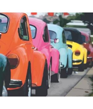 "Картина по номерам ""Яркие ретро автомобили"" ★☆☆ N00013237 35х45 см"