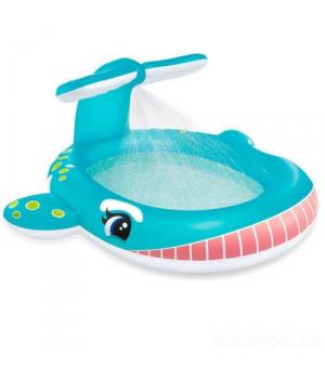Детский надувной бассейн Кит с фонтаном, Intex
