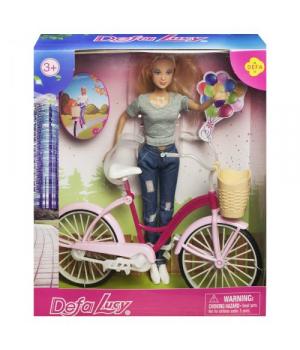 """Детская Кукла """"Defa Lucy. С велосипедом"""", в сером 8361"""