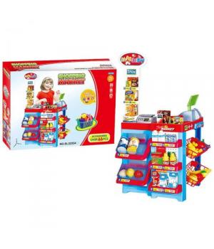 Игрушка супермаркет с кассой и продуктами, на батарейках