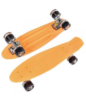 Скейт Пенниборд оранжевый, 55 см, колёса PU со светом