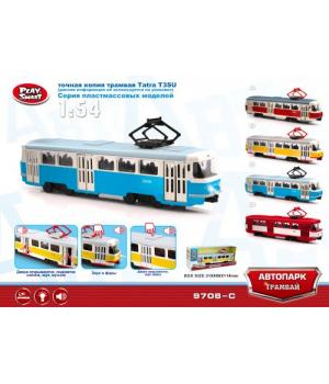 """Игрушка модель трамвай """"Автопарк"""" инерц.откр.дв.свет,звук, PLAY SMART"""
