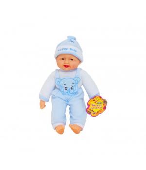 Мягкий детский Пупс хохотун (в голубом), 40 см X1608