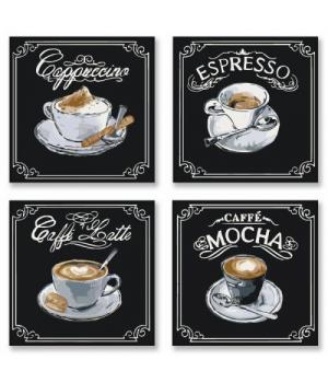"""Картина по номерам """"Полиптих: Вкусный кофе"""" ★★★ KNP001 18х18 см"""