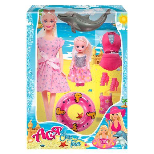 """Детская Кукла мама с ребенком Ася """"Sea Tour с аксессуарами 35103"""