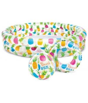 """Надувной бассейн для детей """"Ананасы"""" с мячом и кругом, Intex"""