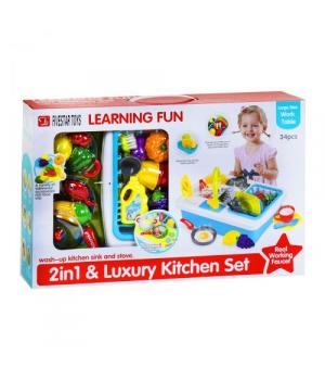 """Детская маленькая кухня с раковиной и набором посуды, """"Kitchen Set"""" 35385"""