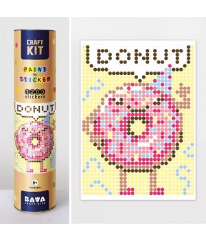 """Картина по номерам стикерами в тубусе """"Пончик"""", 33х48см, 1200 стикеров"""