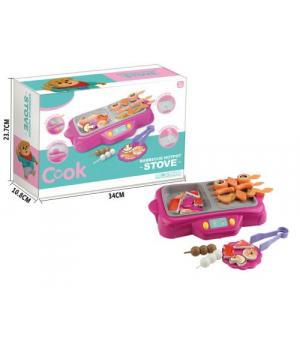 Гриль детская игрушка с музыкой, подсветкой и паром, Aolawen