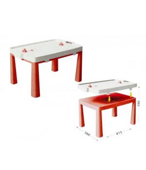 Детский пластиковый стол + настольная игра аэрохоккей (красный) 04580/5