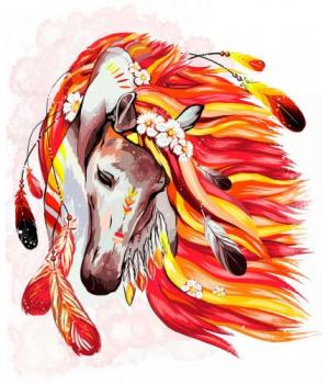 """Картина по номерам """"Огненная лошадь"""" укр KpN-01-07U 40х50 см"""