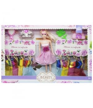 Игрушка Кукла с гардеробом (в розовом платье) 013