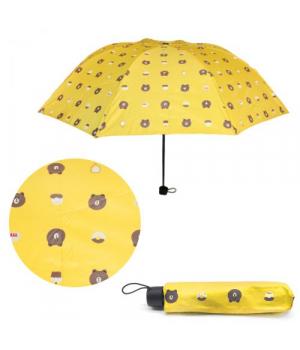 """Детский зонтик для девочки складной """"Мишки"""", желтый"""