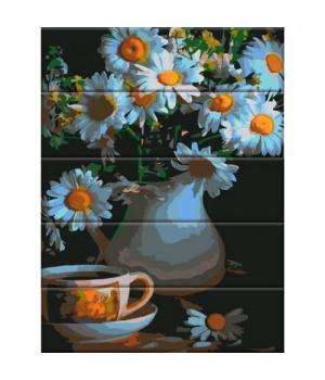 """Картина по номерам на дереве """"Ромашки в вазе"""" ASW047 40х30 см"""