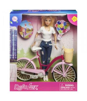 """Детская Кукла """"Defa Lucy. С велосипедом"""", в белом 8361"""