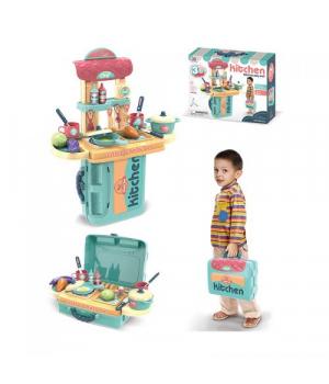 """Детская кухня в чемоданчике, с набором посудки, """"Kitchen"""" 3 в 1 (бирюзовая) 008-976"""