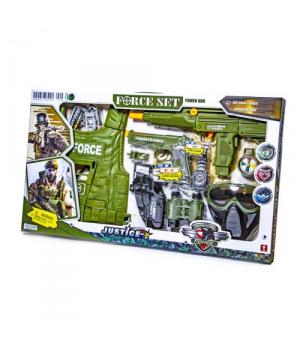 ЧП100379 [34280] Военный набор 34280 (18шт) жилет,часы,рация,оружие,в кор. 66*38*6см