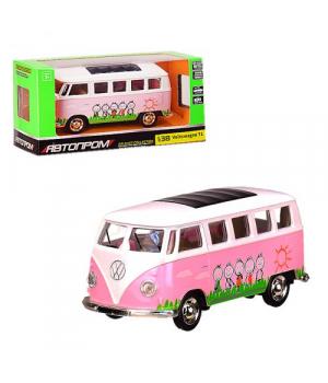"""ЧП194165 [4332] Автобус металл 4332 (96шт) """"АВТОПРОМ"""",1:38 Volkswagen T1,розовый цвет,откр.двери,в кор. 14,5*6,5*7см"""