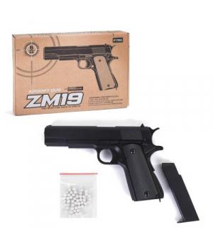 Пистолет игровой металлический на пульках 6мм, ZM19, Airsoft Gun, CYMA