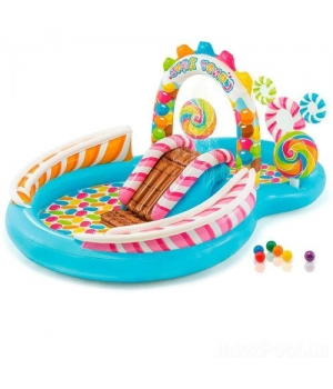 Детский надувной бассейн с горкой и фонтанчиком, 295*191*130 см, Intex