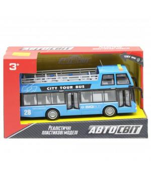 """Автобус двухэтажный игрушка """"Автосвіт"""", голубой AS-2627"""