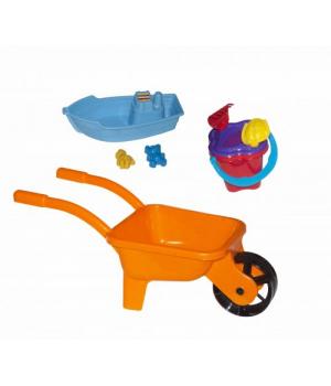 Детская тачка с лодочкой и песочным набором (оранжевая) KW-01-127