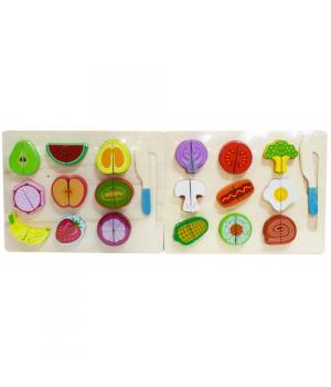 Деревянная магнитная игра фигурки овощей и фруктов на магнитах