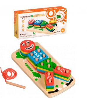 "Игрушка пирамидка деревянная, ""Клоун"" Д224"