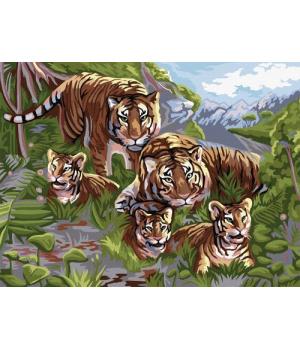 """Картина по номерам """"Семья тигров"""" KpN-03-06 40х30 см"""