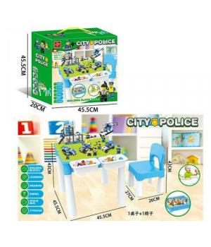 """Игровой столик со стульчиком + конструктор """"City Police"""" 371"""