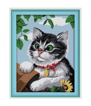"""Вышивка крестиком по номерам """"Игривый котик"""" D445"""