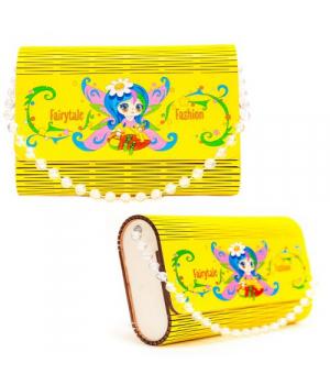 """Деревянная сумочка """"Фея"""", жёлтая 0300"""