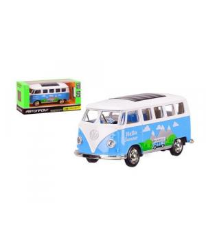 """ЧП194166 [4333] Автобус металл 4333 (96шт) """"АВТОПРОМ"""",1:38 Volkswagen T1,синий цвет,откр.двери,в кор. 14,5*6,5*7см"""