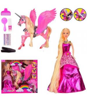 Кукла с лошадкой единорогом и асксессуарами