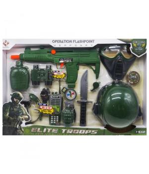 Детский набор военного с автоматом, маской и каской, Elite Troops