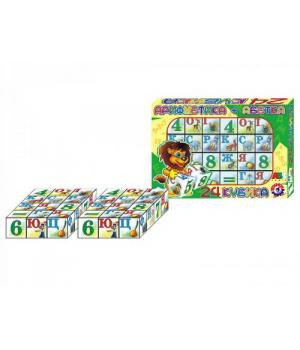 Детские игровые кубики с буквами и цифрами Украинский алфавит, 24 кубика, Технок