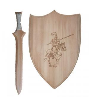 """[172067] Набір зброї іграшковий """"Лицар"""" 2предмета, щит 35см з гравірованим зображенням+ меч 45см"""