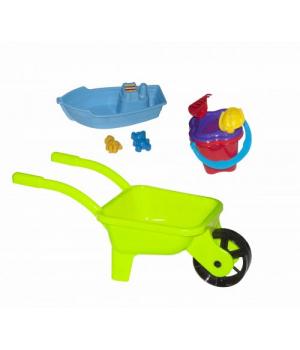 Детская тачка с песочным набором (салатовая) KW-01-127