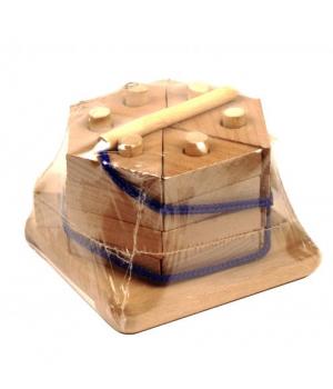 Логическая деревянная пирамидка Тортик, неокрашенная, Руди