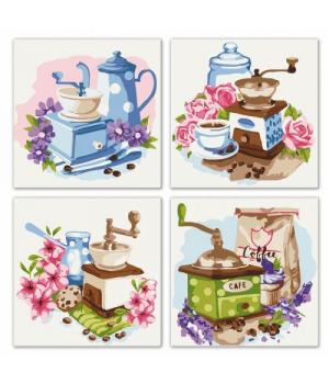 """Картина по номерам """"Полиптих: Цветочный кофе"""" ★★★ KNP018 18х18 см"""