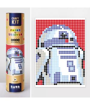 """Картина по номерам стикерами в тубусе """"Звездные Войны робот R2-D2"""", 33х48см, 1200 стикеров"""