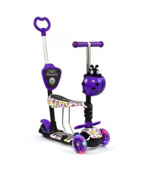 Самокат с родительской ручкой фиолетовый, от 2 лет, Scooter