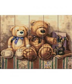 "Картина по номерам на дереве ""Медвежата"" ASW020 40х30 см"