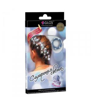 [GL2005-CW] Гірлянда Симфонія Світла - 15 для прикраси зачіски. 5 шпильок. Колір - білий. 15 LED