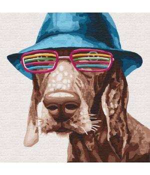 """Картина по номерам """"Стильный пёс"""" ★★★★ КНО4193 30х30 см"""