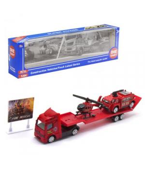 """Игровая фура с трейлером и пожарными машинками """"Super Power"""", красный TH677"""